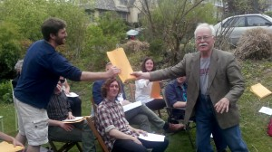 Prof. Lensing presents Taylor Steele '14 a book prize for his accomplishments in German