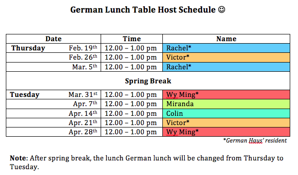 Lunch table schedule2015